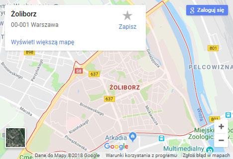 Mapa Google hydraulik Warszawa Żoliborz